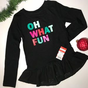 NWT Girls Holiday Black Shirt Cat&Jack